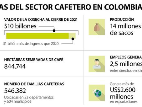 LA COSECHA CAFETERA PARA ESTE 2021 PODRÍA CERRAR EN $10 BILLONES, SEGÚN MINAGRICULTURA