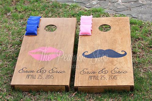 Lips & Mustache Cornhole Set