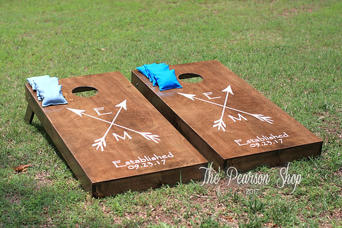 Initials in Crossed Arrows Cornhole Set