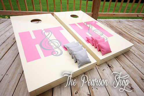 Initials with Music Note Cornhole Set