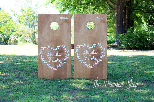 Vine Heart Personalized Cornhole Set