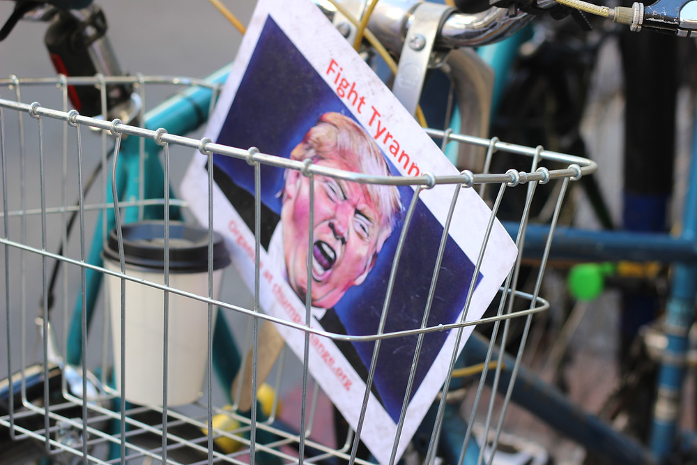 Picture of Trump titled Fight Tyranny in a Bike Basket