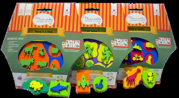 juegos didacticos sellos pintar animales personas jugar con madera goma eva crear historias