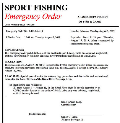 Kenai River Emergeny Order Example