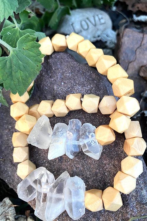 Hexagon Wood & Crystal Quartz Bracelet