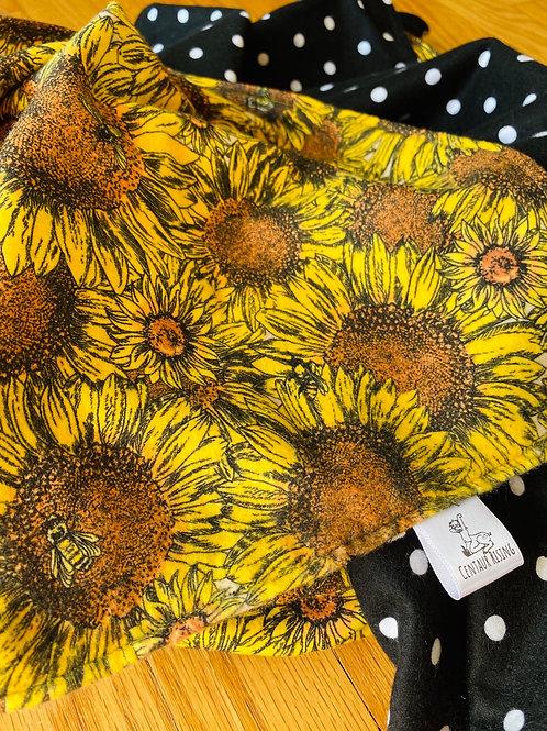 Sunflower + Polka Dots Flannel Blanket