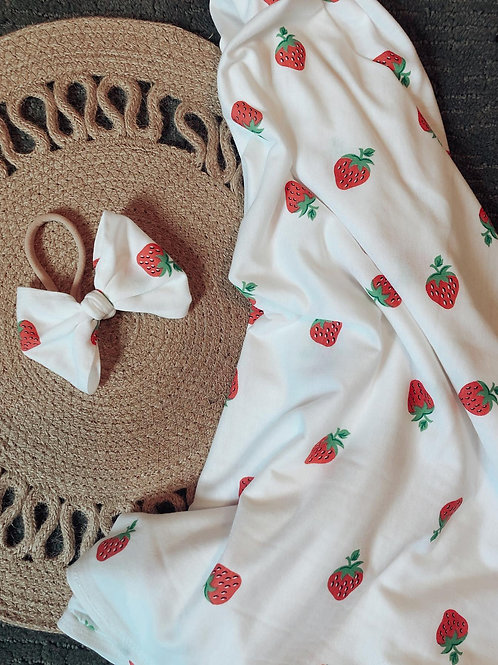 Sweet Strawberry Swaddle and Bow Set