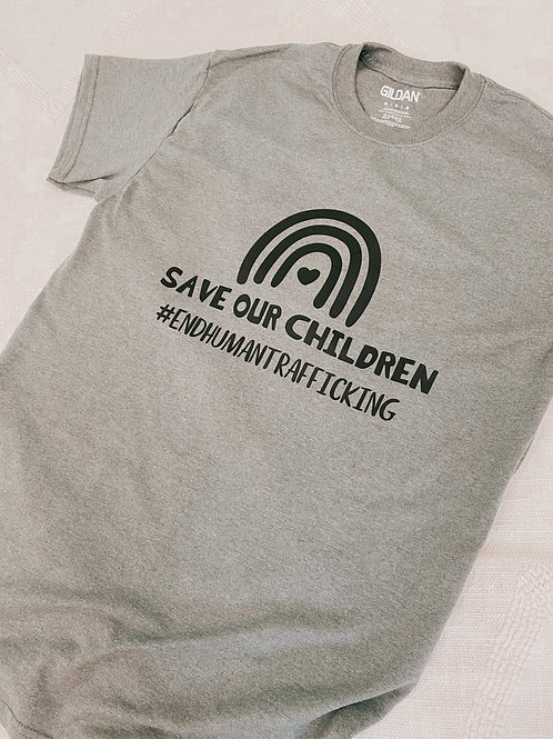 Gray and Black Save Our Children T-shirt