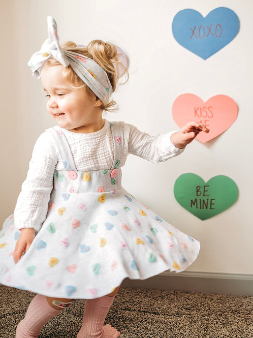 Candy Valentine Hearts Dress Suspenders & Headwrap Bow