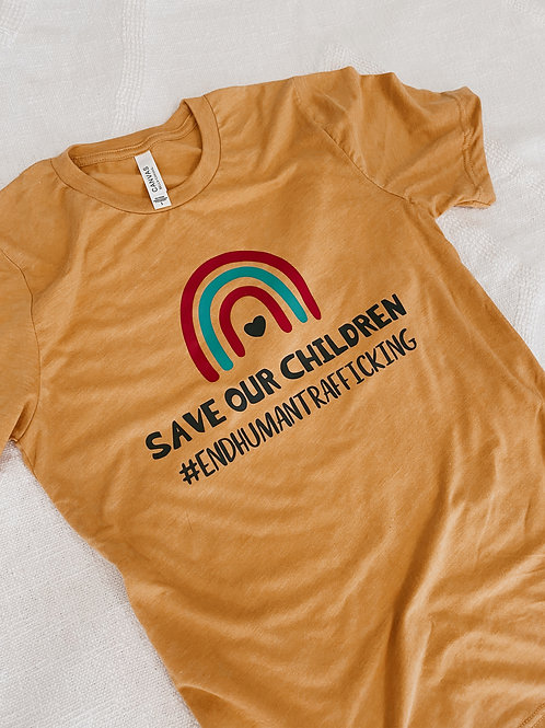 Mustard Yellow Save Our Children T-Shirt