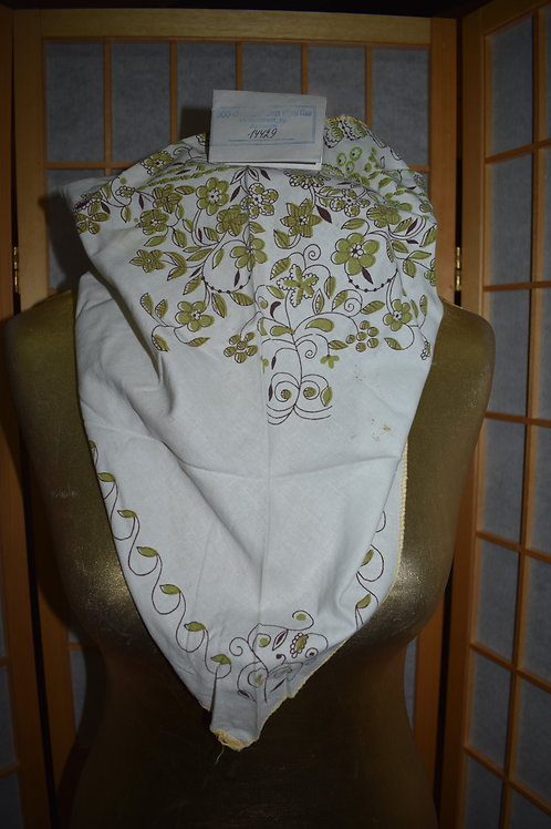 Косынка 74х105см. белая в горчично-коричневые цветы и узоры
