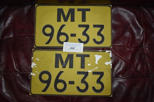 Номера автомобильные парные МТ96-33 жёлтые