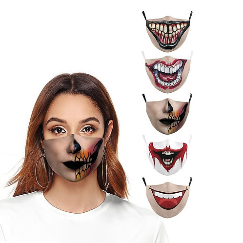 Halloween Printed Mask Dustproof Pm2.5 Haze Face Mask Cotton Filter Horror Mask
