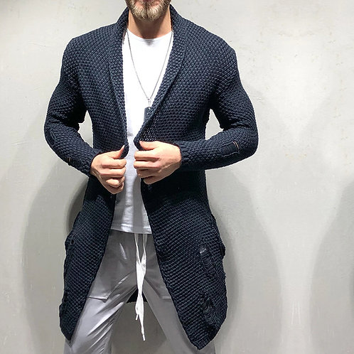 Autumn Winter Sweater Men Standard Wool Hole Solid Color Casual Turn-Down Collar