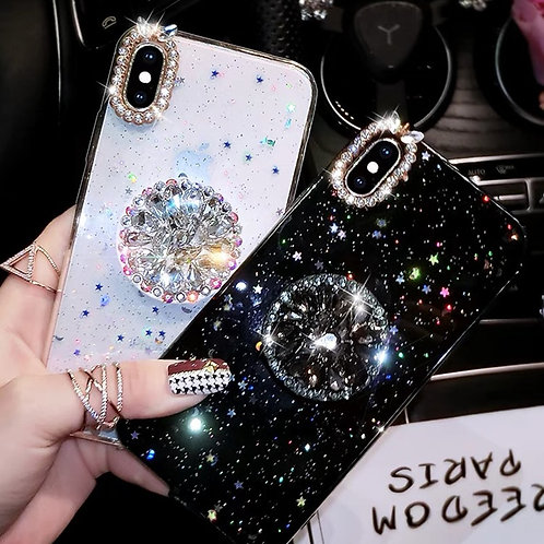 Glitter Marble Diamond Ring Holder Silicone Phone Case for Iphone 7 8 6 S Plus X