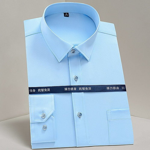 Men's Classic Non Iron Stretch Solid Easy Care Shirt With Pocket Long Sleeve For