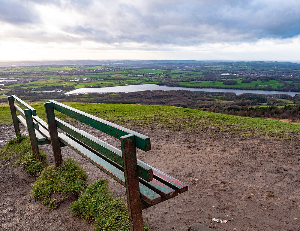 A capture of Rivington Pike summit and surrounding West Pennine Moors views.