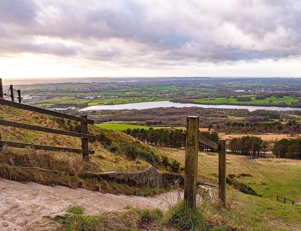 Rivington Pike Summit  - Surrounding views of the West Pennine Moors, England.