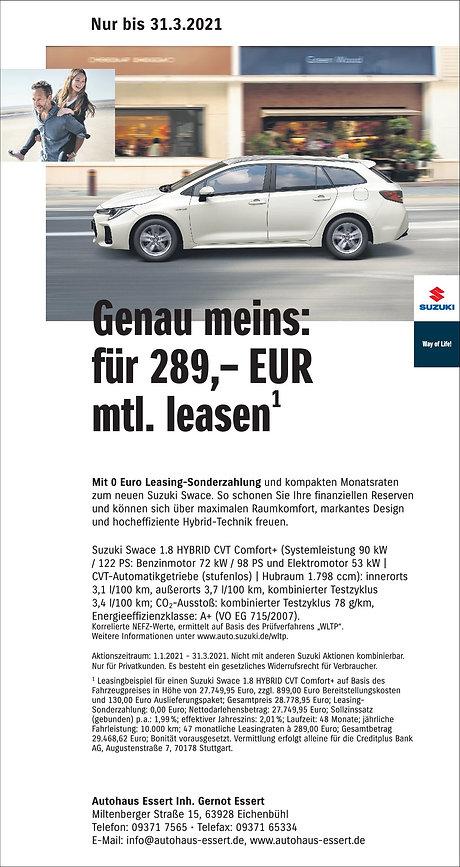 Suzuki Swace Leasing 0 Sonderzahlung Aut