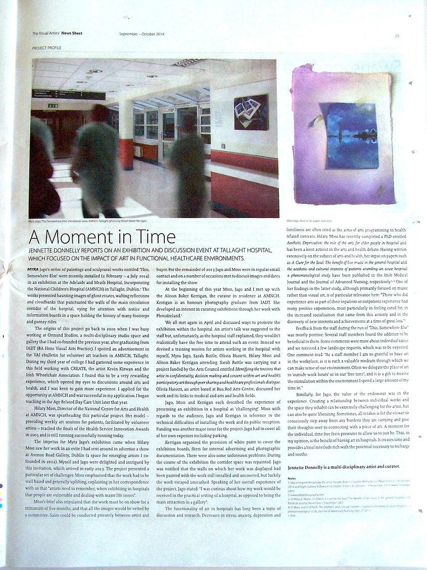 Report on Myra Jago's exhibition at Tallaght Hospital.