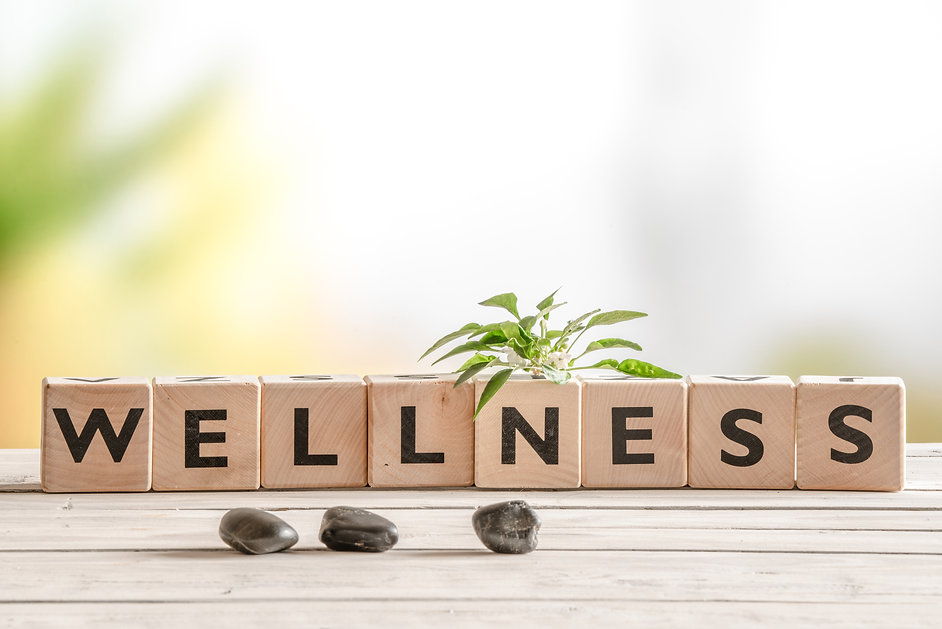Wellness sign with wooden cubes and flowers and stones.jpg