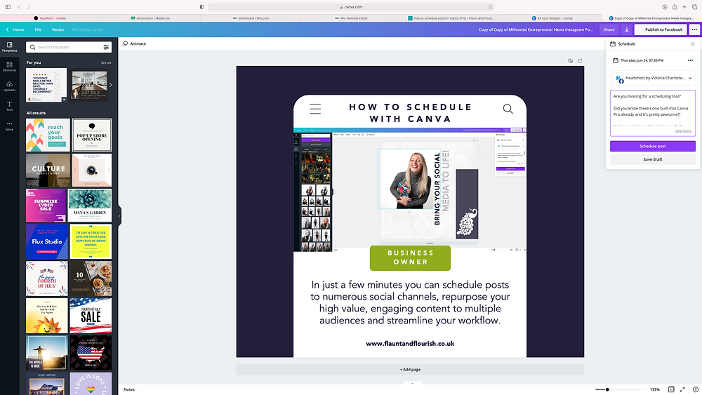 Canva Your design social channel and written content
