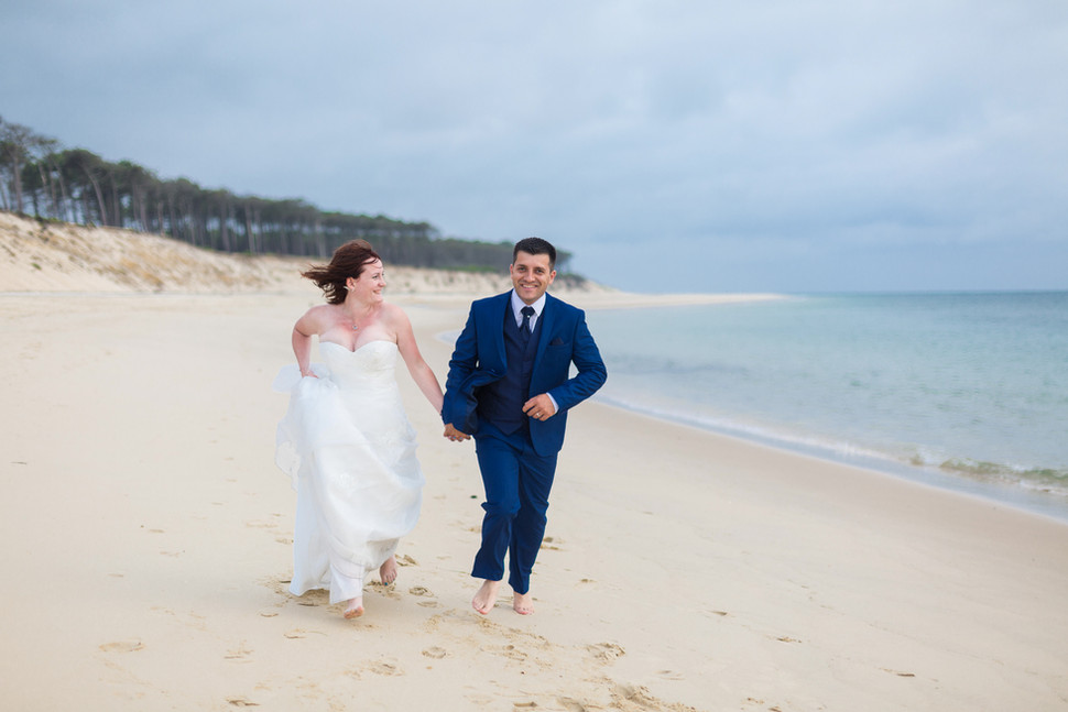Shooting photo mariage couple plage