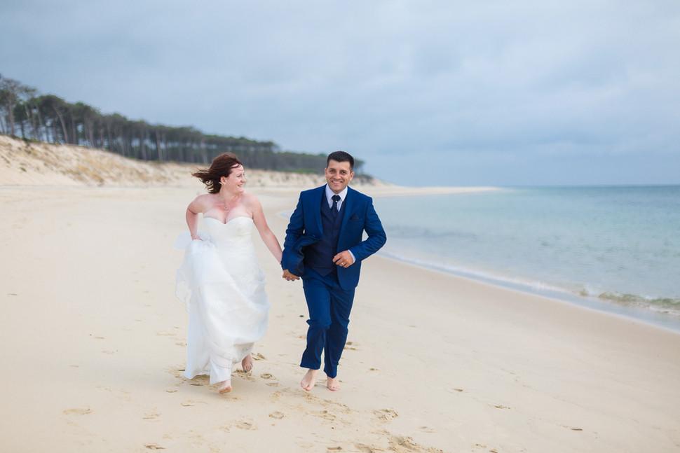Shooting photo mariage couple plage