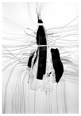 Blindingly Off white, abstract mixed medium drawing by Jennifer O'Brien