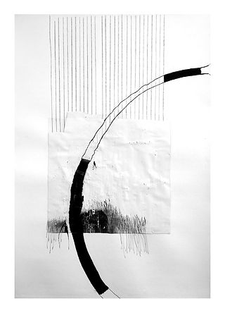 It looks simple....., abstract mixed medium drawing by Jennifer O'Brien