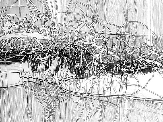 Constant Landing (detail) ,drawing by Je