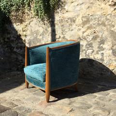 Fauteuils année 30, tissu Bohai des collections Nina Campbell, finition double corde de la maison Houlès.