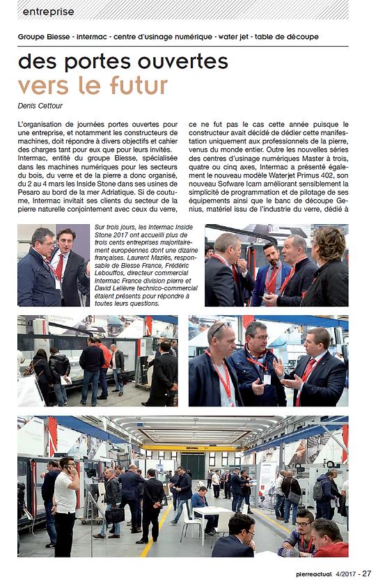 Portes ouvertes Biesse-Intermac Pesaro mars 2017