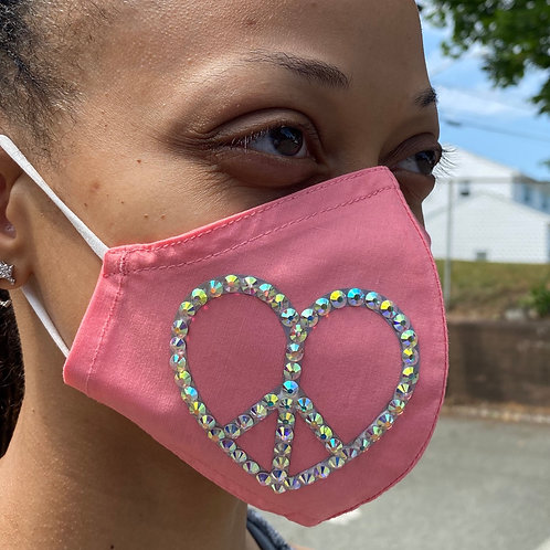 Bling Peace Heart Mask