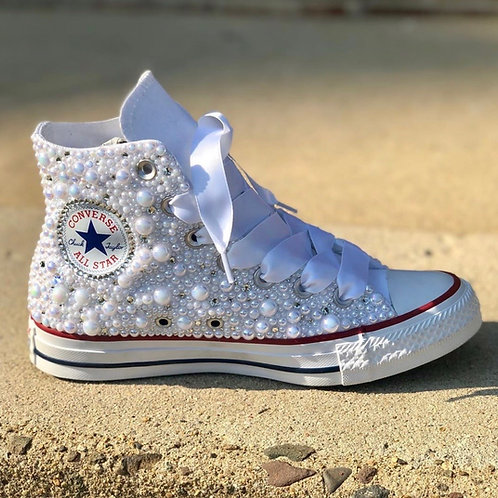 Custom Pearl & Bling Converses (Includes Sneaker)
