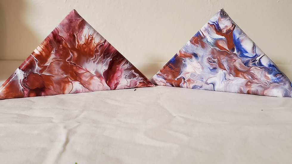 Acrylic pour Canvases/ Round, Triangle, Heart, and Hexagon