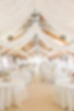 Wedding reception ceiling draping at pickering barn
