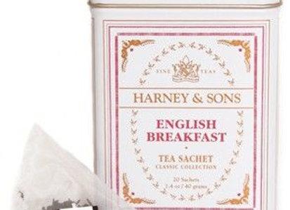 Black English Breakfast HT Tin Sachets HARNEY & SONS (20 Sachets per tin)