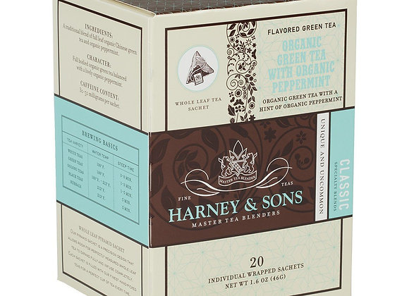 Organic Green Tea with Peppermint Sachets HARNEY & SONS (20 Sachets per box)
