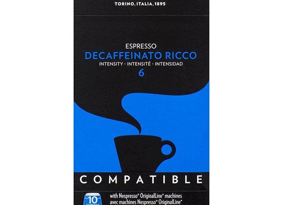 Espresso Decaffeinato Ricco LAVAZZA (Nespresso Compatible)- Intensity 6