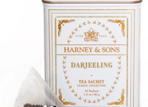 Black Darjeeling Classic Tin Sachets HARNEY & SONS (20 Sachets per tin)