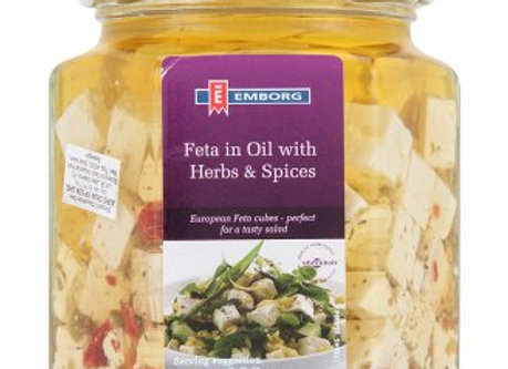 Feta Cheese Cubes 45+, w/herbs and spices in oil EMBORG