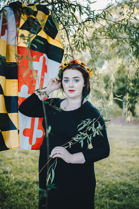 Maryland flag, maryland photo shoot, flower crown, black eyed susans, Maryland inspired