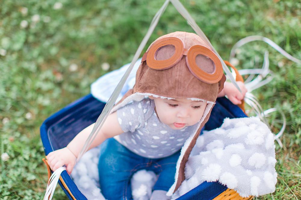 aviator googles, baby dress up, baby pilot, maryland photo sesison