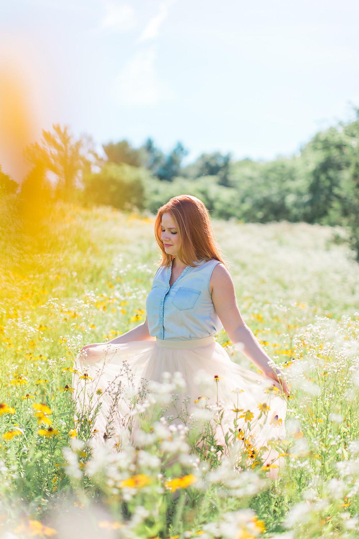 flower field, centennial park, maryland portrait
