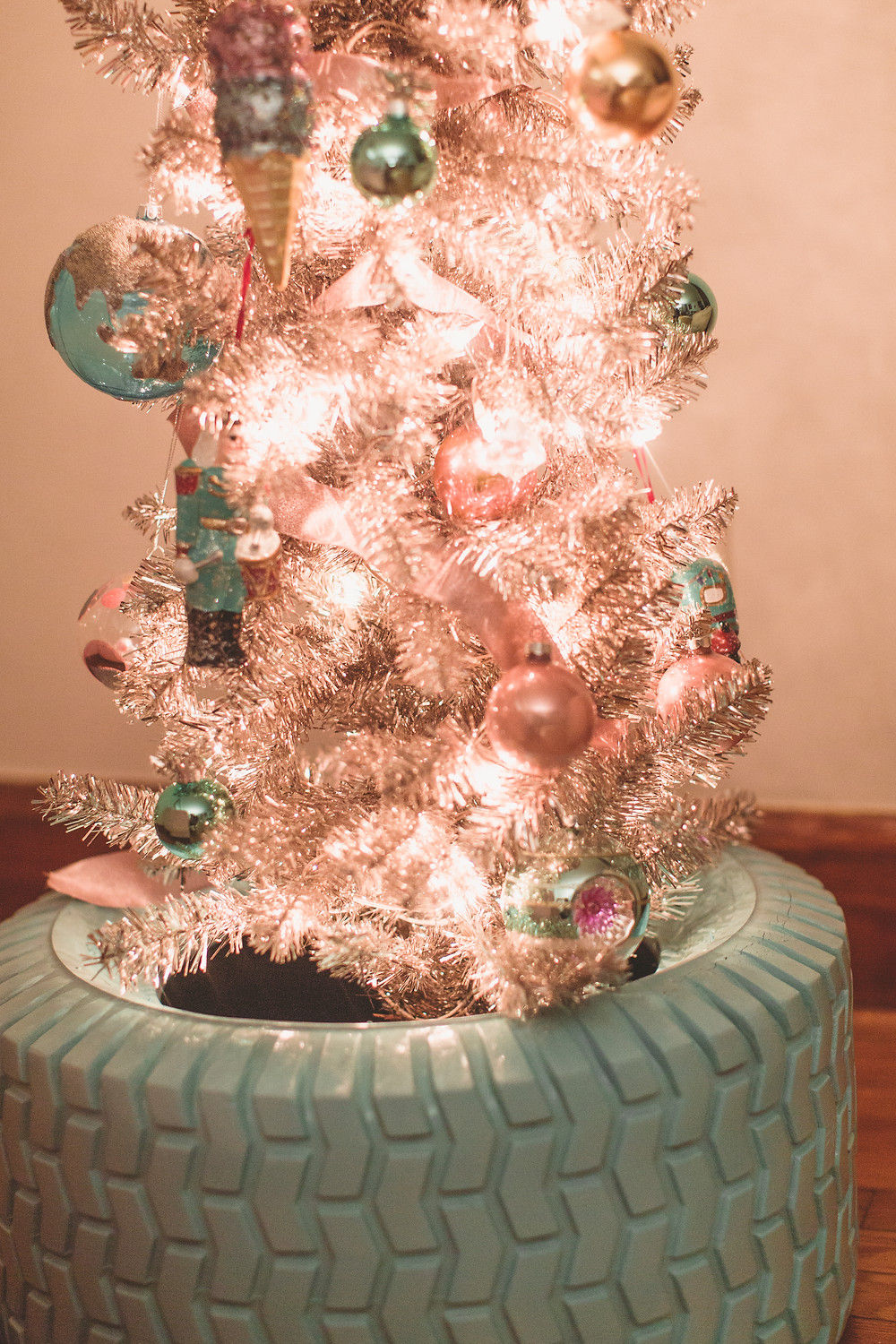 Whimsical, pastel christmas ornaments, DIY Christmas decor, spray painted tire