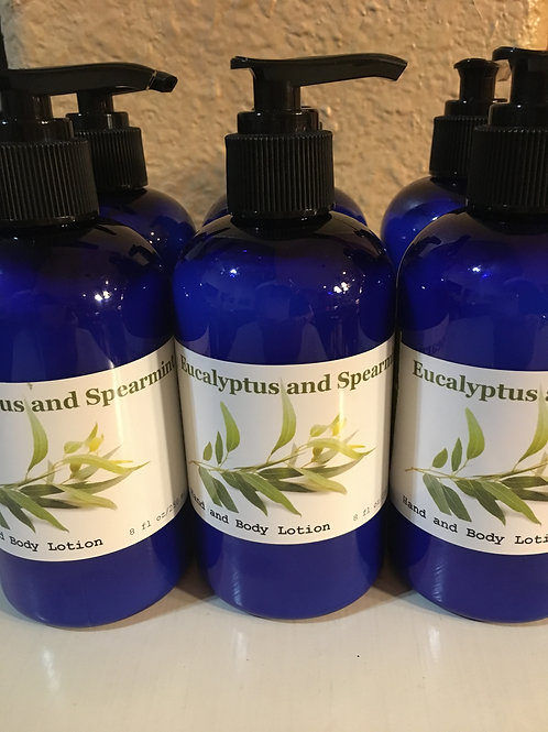 Refreshing Eucalyptus and Spearmint Hand and Body Lotion 8oz (250ml)