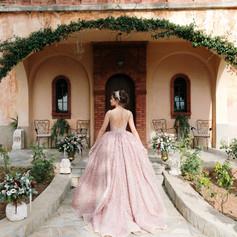 Bride going in her castle