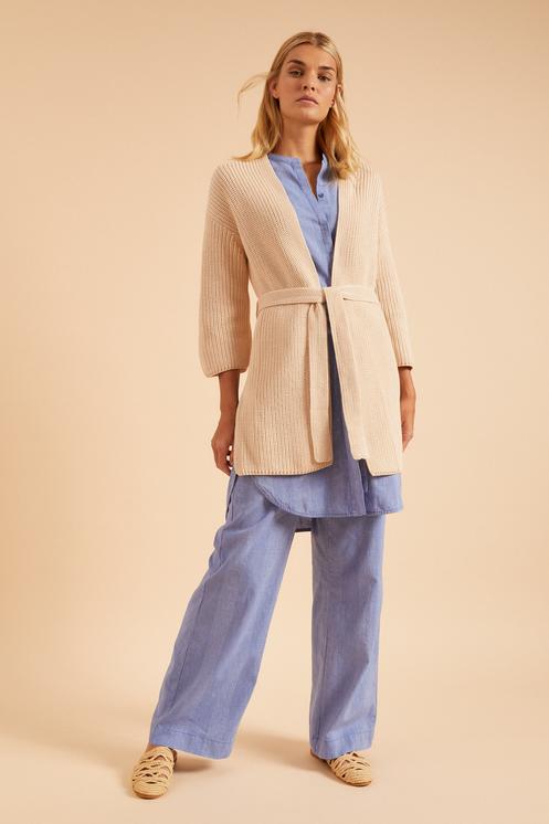 Damen Strickjacke lang aus Bio-Baumwolle