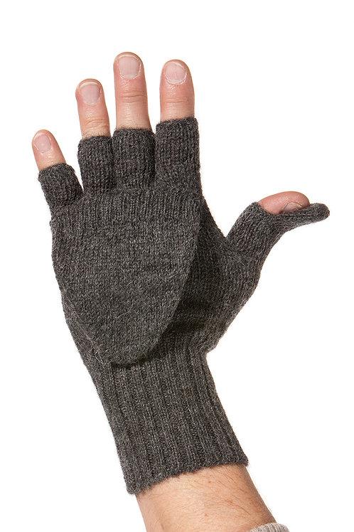 Alpaka Halbfingerhandschuh mit Klappe für Damen und Herren